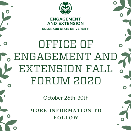 Fall Forum - Save the Date - October 26-30, 2020