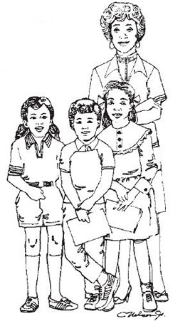 Adult with children