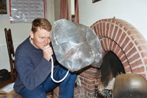 Figure 10. Use of a chimney balloon is a simple way to reduce air infiltration from a fireplace.