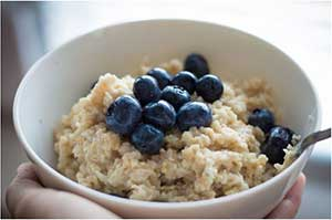 blueberries on oatmeal