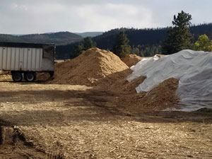 Mulch ready to be installed as a hill slope treatment shortly after the High Park Fire in 2012.