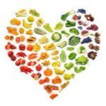 corazón hecho de comida