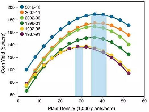 Optimum agronomic plant population improvement in the last 3 decades.