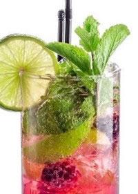 sabor agua infundida con menta y limas
