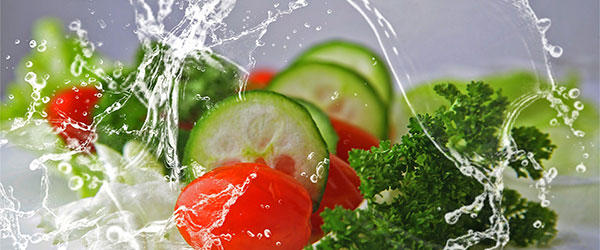Water on vegetables