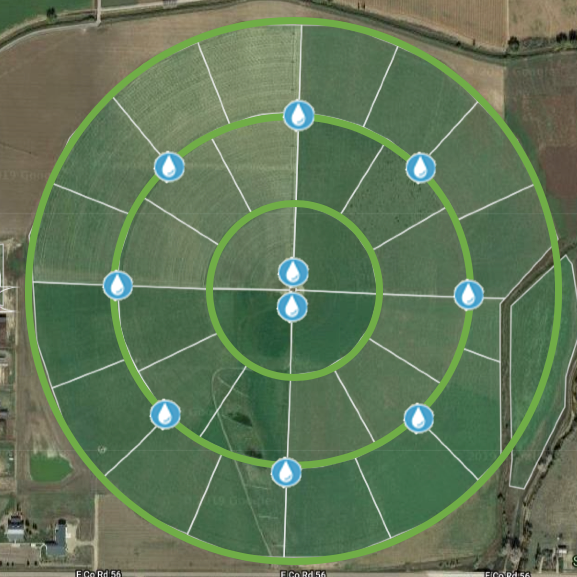 Figure 6. MiG system design on a 200-acre pivot including high-tensile concentric fences (green), moveable polywire paddock fencing (white), and watering locations at Colorado State University. Polywire locations represent areas associated with given water points and are often further subdivided into 2 or 3 smaller paddocks depending on animal numbers and current forage supply