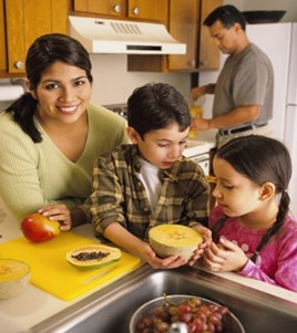 family preparing meals