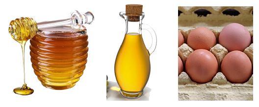 miel, aceite, huevos