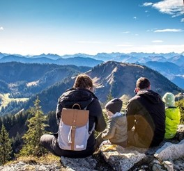 Family sitting after hiking
